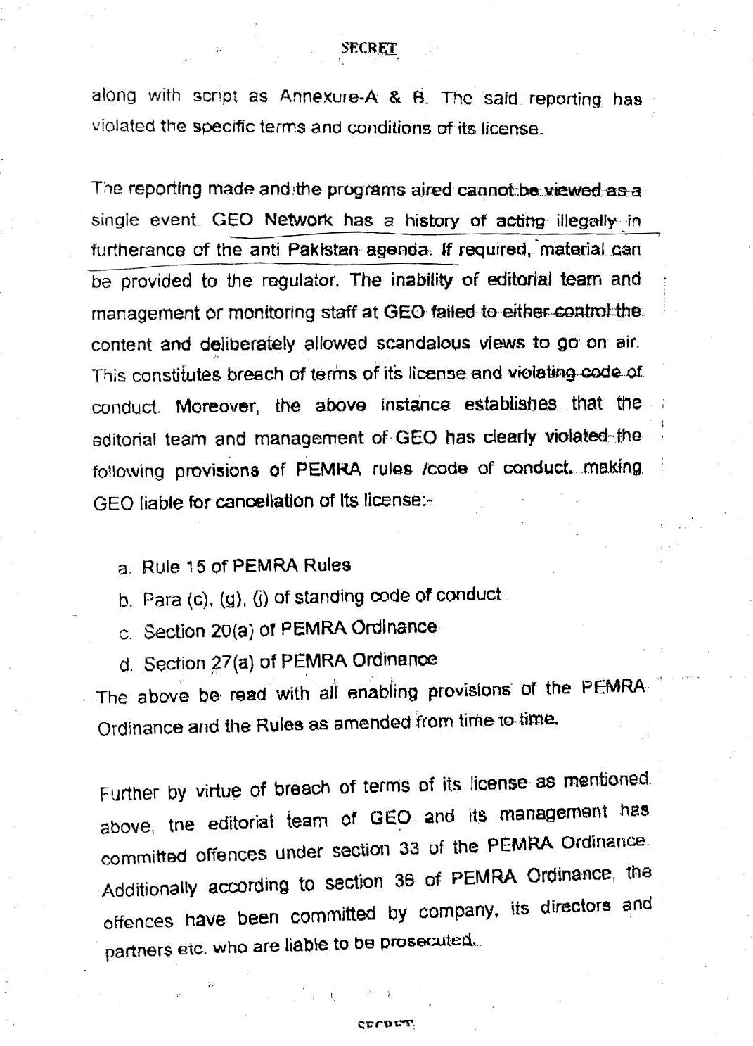 Text of Application of Defence Ministry against Geo  PEMRA