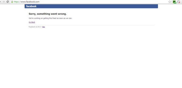 Facebook goes wrong. No Facebook services available all over the world