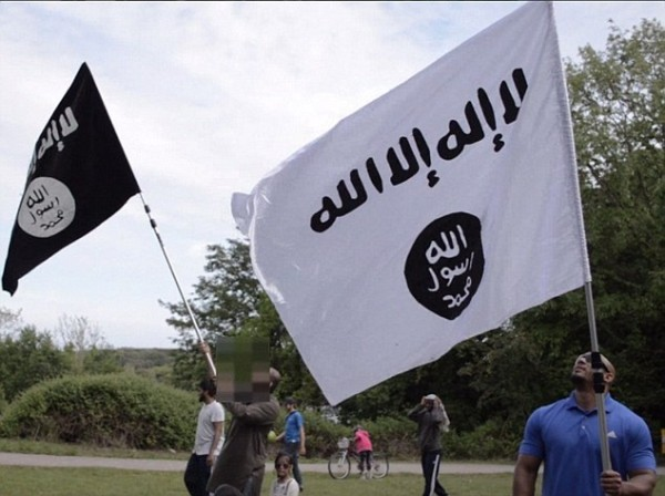 ISIS flags at a barbecue in the Welsh. Event took place in second week of June in United Kingdom.