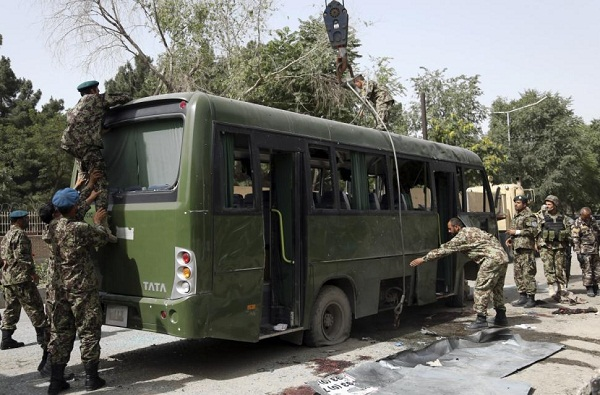 Three killed after suicide bomber targets Afghan army bus in Kabul