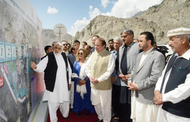 Prime Minister Nawaz Sharif at briefing at Attabad Tunnels inauguration ceremony