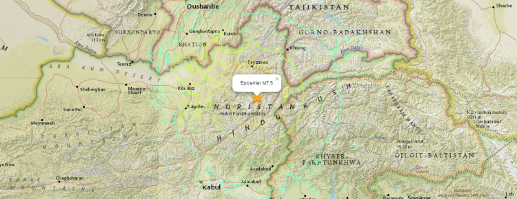 Earthquake partially destroyed Nuristan Panjshir valley in Afghanistan