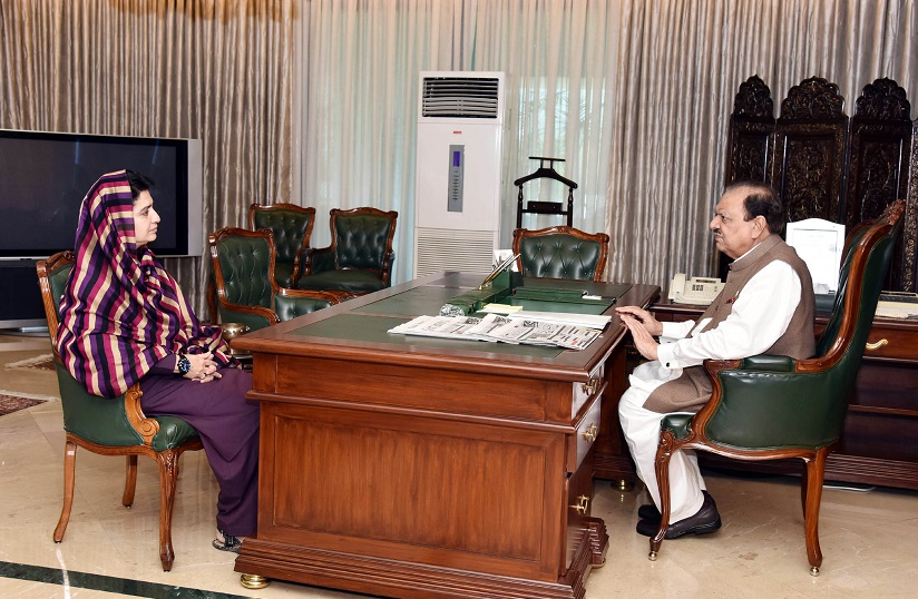SPEAKER BALOCHISTAN ASSEMBLY MS. RAHILA HAMEED KHAN DURRANI CALLED ON PRESIDENT MAMNOON HUSSAIN AT THE AIWAN-E-SADR, ISLAMABAD ON JULY 20, 2016.