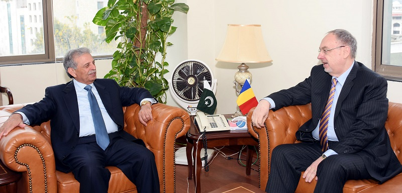 H.E. MR. NICOLAE GOLA, AMBASSADOR OF ROMANIA CALLED ON RANA TANVEER HUSSAIN FEDERAL MINISTER FOR DEFENCE PRODUCTION IN ISLAMABAD ON JANUARY 05, 2017.